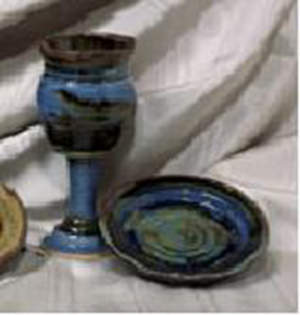 Small Earthenware Chalice and Paten Set, Dark Blue