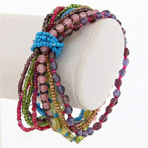 India Multi-strand Bracelet - Mixed Glass