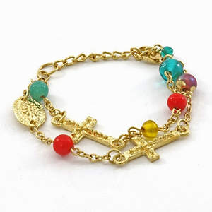 India Christian 2-strand Bracelet - Multi-Cross and Bead Adjustable Gold-tone