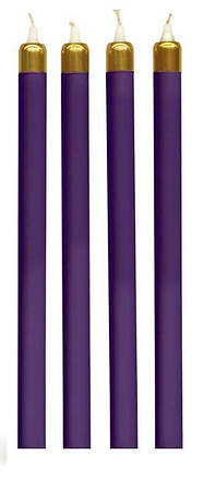 Advent Tube Candles Set of 4 Purple 13 3/8