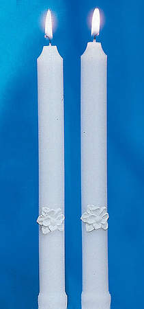 Silver and White Holy Matrimony Side Candles (Pair)