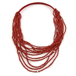 Java Beads and Metal Necklace - Red
