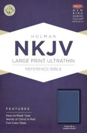 NKJV Large Print Ultrathin Reference Bible, Cobalt Blue Leathertouch