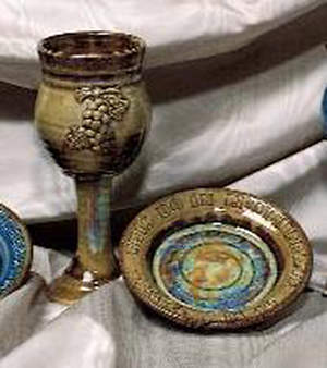 Small Earthenware Chalice and Paten Set, Brown
