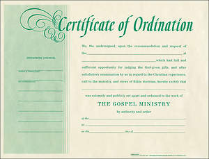 Certificate Of Ordination Package of 6