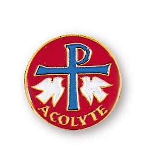 Acolyte Red Lapel Pin with Chi Rho Symbol and Doves
