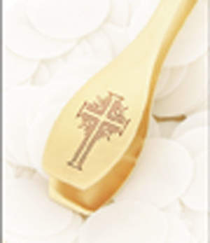 Serve-EZE Patented Engraved Cross 24K Gold Plated Wafer Dispenser