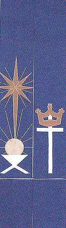 Manger Star Cross and Crown Blue Stole