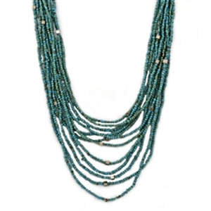 Java Beads and Metal Necklace - Turquoise