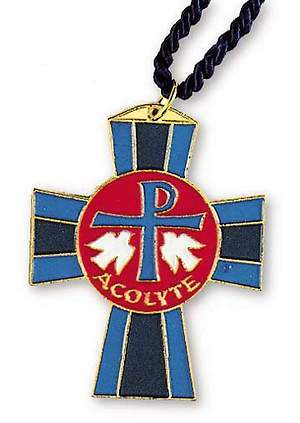 Acolyte Gold-Plated Pendant with Chi Rho and Doves