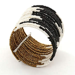 Java Abstract Bead Cuff Bracelet - Black  Adjustable