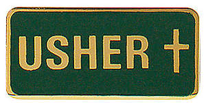 Usher Pin With Cross - Gold And Green Enamel