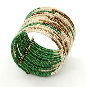 Java Abstract Bead Cuff Bracelet - Green Adjustable