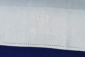 Baptismal Napkin with Greek Cross and My Baptism