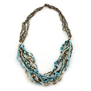 Java Beaded Necklace - Beaded Layers Turquoise