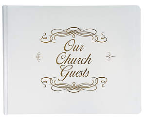 Large bonded leather church guest book - white