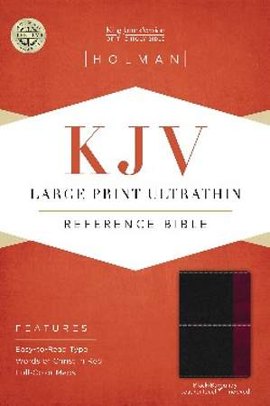 KJV Large Print Ultrathin Reference Bible, Black/Burgundy Leathertouch