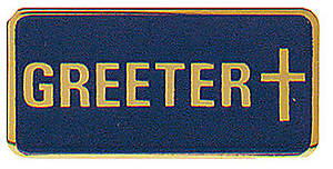 Greeter Pin With Cross Emblem
