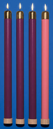 Advent Tube Candles 3 Purple and 1 Rose, 7/8