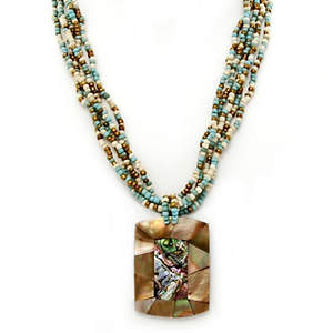 Java Shell Pendent Necklace - Turquoise