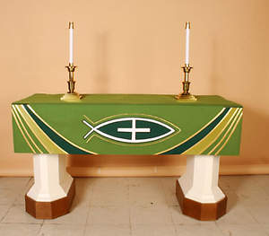 Ascension Series Green Altar Frontal with Fish with Cross