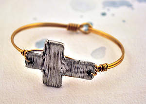 Wire Wrapped Brass and Pewter Bracelet - Wire Cross
