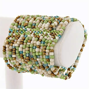 Java Beaded Cuff Bracelet - Stretchy Green/Bronze/Cream