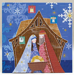 Jesus, Mary & Joseph with Layered 3D Effect Advent Calendar (layered with foam pads includes envelope)