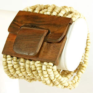 Java Beaded Wood Cuff Bracelet - Stretchy Cream