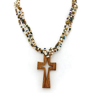 Java Beaded Necklace - Wood Cross