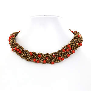 Java Braided Bead Necklace - Red and Bronze