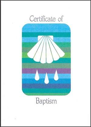 Contemporary Full-Color Adult Baptism Flat Certificate with Seashell and Water Drops (Package of 12)
