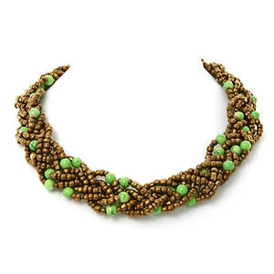 Java Braided Bead Necklace - Lime and Bronze