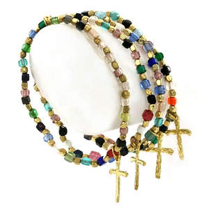 India 4-strand Christian Beaded Bracelet - Stretchy Gold-tone