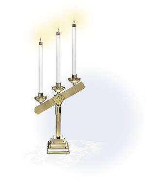 3-Light Inclined Table Candelabra Pair