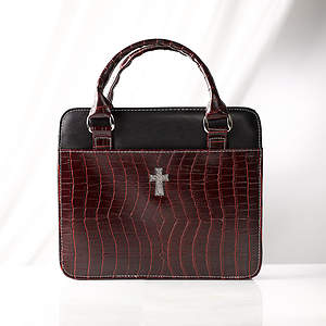 Croc Embossed Purse Style Large Burgundy Bible Cover