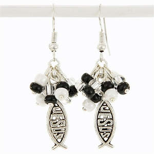 Guatemala Christian Earrings - Bundle of Beads Black and White