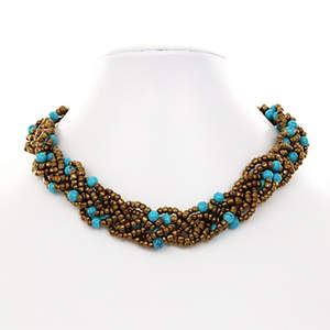 Java Braided Bead Necklace - Turquoise and Bronze