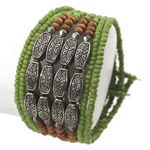 Java 9-strand Cuff Bracelet - Lime Adjustable