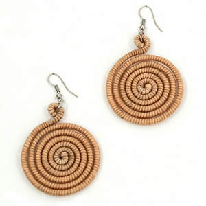 Thai Circle Earrings - Tan