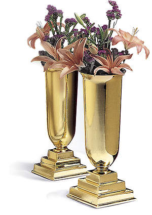 Small Solid Brass Vases, liners included (Pair)