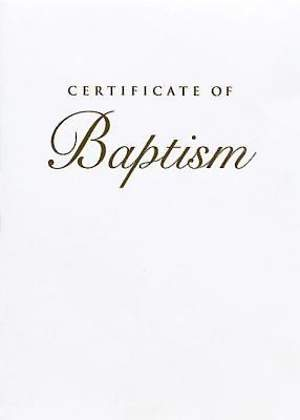 Abingdon Select Collection Children's Baptism Certificate, Gold