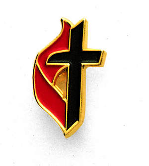 Lapel United Methodist Cross and Flame Enamel Pin
