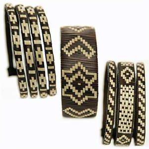 Colombia Cana Flecha Bracelet - Wide  Brown and Cream