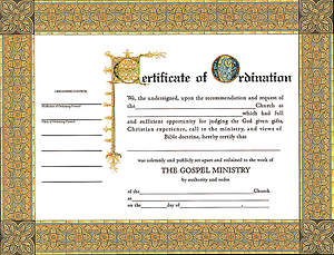 Certificate Ordination Minister Package of 6
