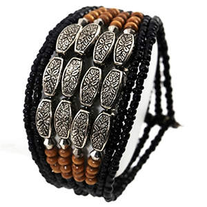 Java 9-strand Cuff Bracelet - Black Adjustable