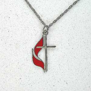Small Cross & Flame Silver Plate Necklace