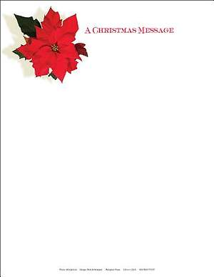 Christmas Music and Christmas Poinsettia Letterhead 2014 (Package of 50)