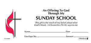 Sunday School UMC Offering Envelope Bulk Currency (Package of 500)