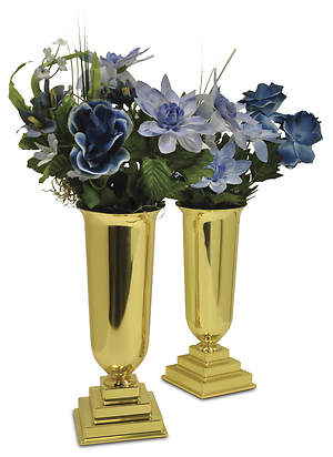"Three-Dimensional Solid Brass 11"" Vases with liners (Pair)"